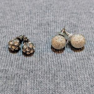 Silver Pave Rhinestone Ball Studs & Textured Studs